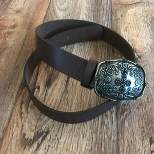 Accessories - Women Belt Brown Man Made Leather Waistband Size S